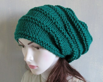 Green Beanie, Warm Unisex Green St Patricks Day Hat Slouchy Hat Slouchie Hat Recyclingroom