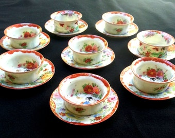 Vintage Geisha Girl Japanese Porcelain Ware Tea Cups Saucers Small Sauce Dishes set of Eight Cinnabar & Gold Trimmed