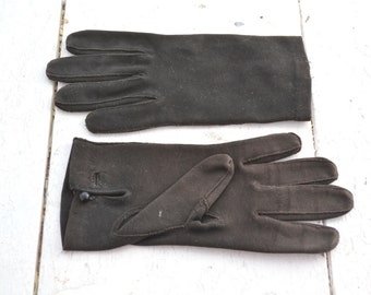 Italian Black Cotton Gloves with Buttons, Size 6 1/2
