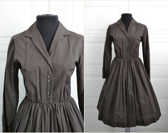 1950s Johnathan Logan Brown Checked Shirtwaist Dress