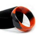 Orange and Black Patchy Lucite Bangle - Best Plastics New Old Stock ca. 1970s