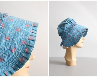 antique blue & pink calico sunbonnet / Hollie Hobbie bonnet - vintage prairie costume / blue floral calico bonnet - primitive garden hat