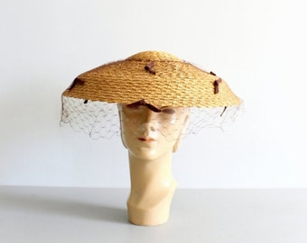 SALE / 1950s straw wide brim ladies hat with veil / Saks Fifth Avenue - Debutante - new old stock / 50s New Look - summer netted sun hat