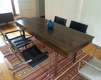 Bloom Dining Room Table - Expandable - Solid Maple - Dark Walnut Finish