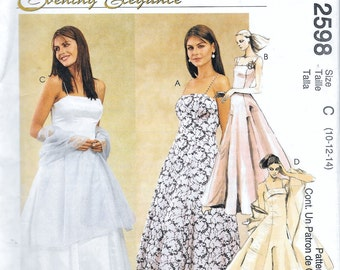 McCall's 2598 Evening Elegance Dress Wedding Prom Gown Crinoline Sewing Pattern Size 10, 12 and 14 UNCUT