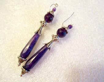Fancy Genuine AMETHYST Teardrop Dangle/Drop Pierced Earrings w/STERLING Silver & SWAROVSKI Crystal
