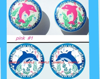 set of 2 (two) Cute Pink or set of 2 Blue  Dolphin with Bubble Wave border Dresser Drawer Knobs boys girls