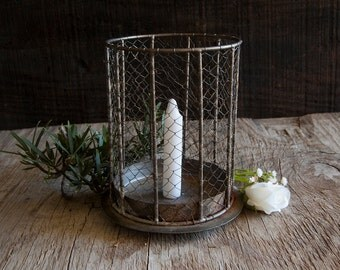 Rustic Metal Chicken Wire Candle Holder