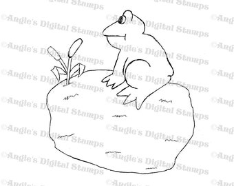 Fron On A Lily Pad Digital Stamp Image
