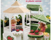 Fashion Doll Summer Garden in Plastic Canvas Gazebo, Glider, table - Barbie