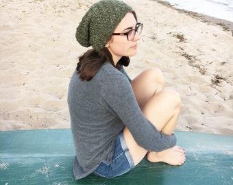 The Adventure Beanie LODEN Moss Green Hat Handknit Wool / Alpaca Slouchy Beanie Unisex Green Slouch Hat Gift Under 50 by WormeWoole