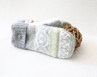 Felted Wool Mittens GREEN & BLUE GREY Nordic Fair Isle Nordic Sweater Mitts Ecofriendly Fleece Lined Gift Under 50 for Women by WormeWoole
