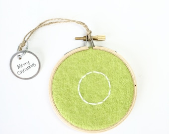 Embroidered Initial Ornament O / Monogram Hoop Art  / O Christmas Ornament / Wall Decor / Green Felted Sweater Wool Ornament by WormeWoole