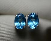 2.70 Carat Swiss Blue Topaz Stud Earrings Sterling Silver 8x6mm Oval