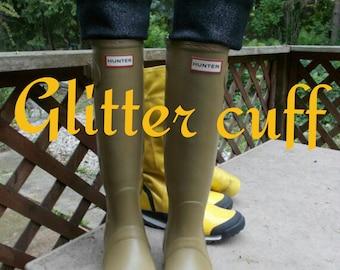 Black Glitter Cuff, Fleece Rain Boot Liners,  Black Sock,Tall  Boots, Boot Accessories,Fashion, Rain, Size /med/Lrg 9-11 Boot Size