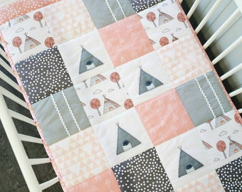 Baby blanket - Little Teepee Patchwork Cot Quilt -pink, girls blanket, baby girl quilt, patchwork quilt, teepee blanket, crib bedding
