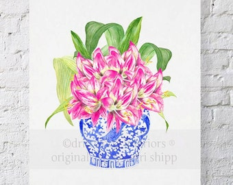 Pink Floral Watercolor in Blue and White Chinoiserie Vase - Blue and White China Painting - Hippies in Chinois Blue 11x14 Print