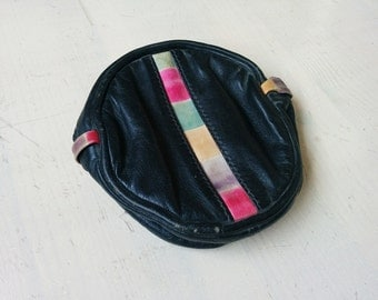 Vintage black leather color block black pink coin purse cosmetic bag.