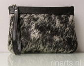 Cow hair clutch / leather zipper pouch / leather wristlet  in salt and pepper cow hair hide and black Italian leather trim