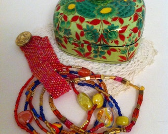 Hand Painted Upcycled Jewelry Box/Bangle Bracelet Set