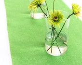 Green Spring Decor - Burlap Table Runner with Satin Ribbon - Indoor/Outdoor Dining & Entertainment