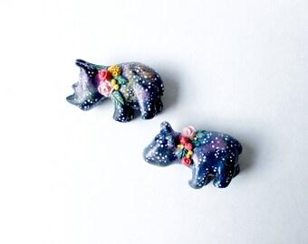 Galaxy Rhino Brooch, Rhinoceros Flower Garland Pin, Paper clay Solar Animal