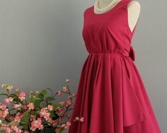 A Party V Backless Dress Raspberry Pink Dress Raspberry Pink Bridesmaid Dress Backless Prom Dress Cocktail Party Dress Bow Dress XS-Xl