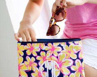 Floral zipper pouch