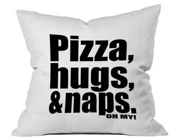 Throw pillow Pizza Toss Pillow Pizza, Hugs, & Naps Throw Pillow White Dorm Room Decor Bed Pillow Pillow Case Bedroom decor