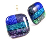 "Dichroic Glass Patchwork Earrings - Purple Green Blue Cobalt Striped Dichro - BIG 3/4"" / 2cm - Large Post or Clip-On"