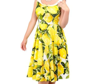 Brand New Vintage 50s Style Maddison Lemons Print Swing Dress Rockabilly Pin Up Retro