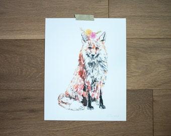 Fox artwork - fox art print - fox painting - woodland animal - art for kids room