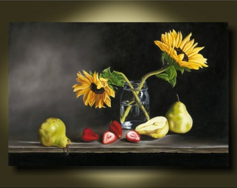 Large Kitchen Art...Sunflowers in Mason Jar on Black with Pears and Strawberries...Canvas or Art Paper Print..photorealism