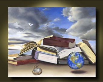 The World Is a Book- home decor, great gift for student... graduate...travel lover...Canvas or Art Paper Print