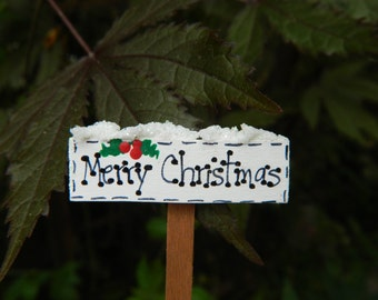 Fairy Garden Merry Christmas Sign-Christmas Miniatures-Merry Christmas sign- Miniature Merry Christmas Sign accessories