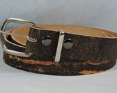 In-Stock 1.5 inch, Brown Crackle Casual Leather Belt