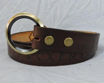 Customizable 1 1/2 inch, Elder Futhark Rune Design Leather Ring Belt, Medieval, Renaissance, SCA, Fantasy