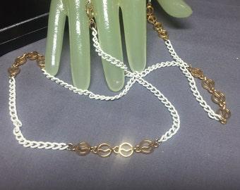 "Vintage 30"" White Enamel & Goldtone Chain Necklace"