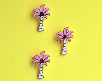 Pastel Pink Palm Tree Hard Enamel Pin Gold Metal Coconuts Tropical Gifts under 10 Flair