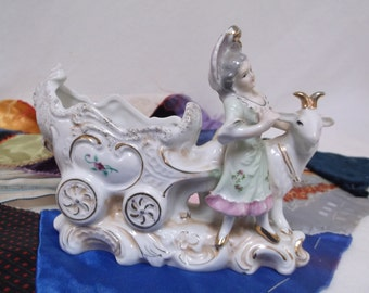 Mid-Century Porcelain Figurine, Colonial Lady With Goat Pulling Cart, Planter, Vase
