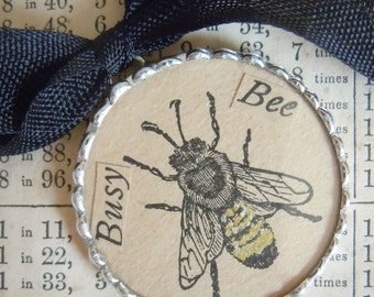 Fiona and The Fig -  Antique 1900s - BUSY BEE - Charm - Necklace - Pendant - Jewelry