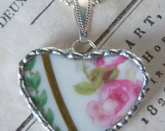 Fiona & The Fig Victorian Era-PINK ROSE-French Limoges - Broken China Soldered Necklace Pendant Charm-Bracelet Charm - Jewelry
