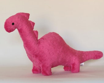 Stuffed Dinosaur Toy - Hot Pink Minky Plush Dinosaur - Baby Shower Gift - Nursery Decor - Stuffed Animal - Dino Toy -  Valentines Day Gift