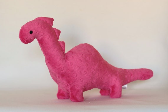 Stuffed Dinosaur Toy Hot Pink Minky Plush Dinosaur Baby