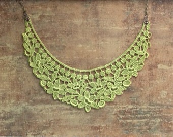 lace necklace - collar necklace - SYLENE - chartreuse green