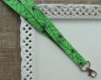 Fabric Lanyard iD - Spiders & Webs on Lime Green
