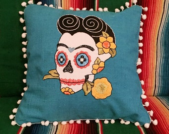 Day of the Dead Frida Kahlo Sugar Skull Blue Pillow Embroidered Calavera