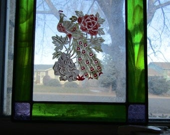 Vintage Purple and Green Stained Glass Window Panel with Painted Peacock Bird Paper Art
