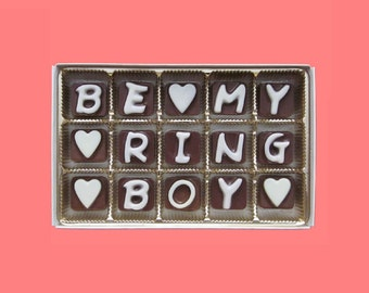 Ring Bearer Gift for Ringbearer Ring Boy Will You Be My Our Ring Bearer Proposal Wedding Invitation Idea Cute Asking Cubic Chocolate Letters