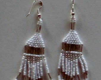 Native American bead weaving earrings in silver and white